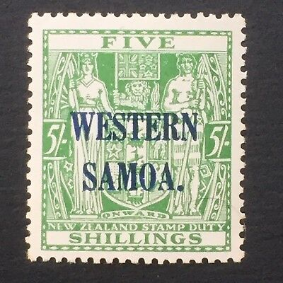 WESTERN SAMOA, SAMOA, 1931+, Arms Type, Stamp Duty, NZ overprint 5/- Green, MNH