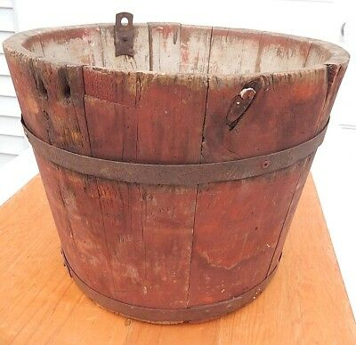 Old 19th Century Staved Wooden Sap Bucket in Dry Red Paint