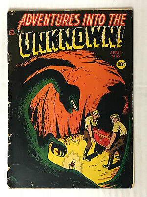Adventures Into The Unknown #4 -(1948) Cave Monster Cover! Low Grade Golden Age!