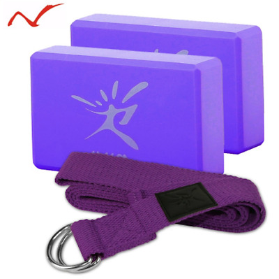 Yoga Block Set with FREE Fitness Belt for Exercise Workout Fitness Train Stretch