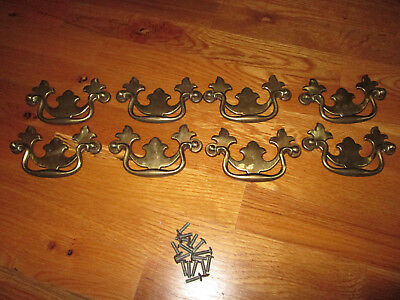 """Vtg 8 Keeler SOLID BRASS Chippendale Bail Drawer Pulls 4 1/2"""" W Used # N12801"""