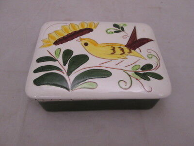 Stangl Pottery Yellow Bird & Flower Cigarette Trinket Box 5-5/8""