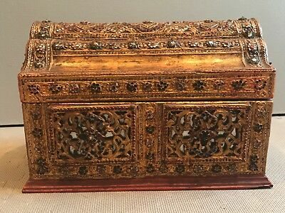 Appraised -  Antique Burma Gilt Lacquer Manuscript Box Chest Casket  Buddhist