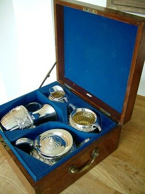 Antique Victorian Hm1898 Oak Cased Solid Silver 4 Piece Tea Coffee Set 1828G Nr