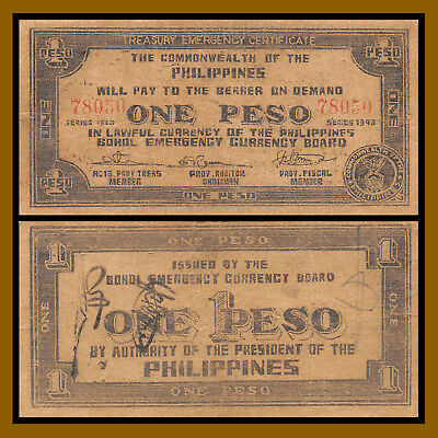 Philippines 1 Peso, 1943 P-S139 Bohol Emeregency Currency WW II Board Circulated