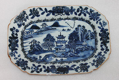 "A 10.5"" Late C18th Chinese Underglazed Blue Rectangular Meat Plate Riveted A/F"