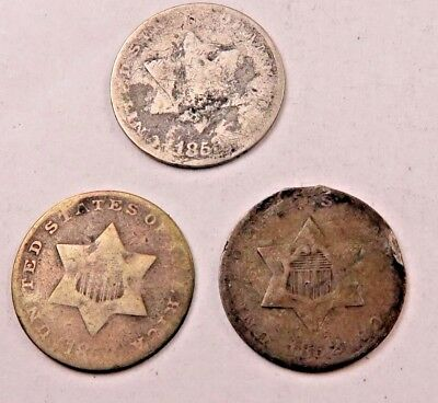 (3) 1852+1853 SILVER Three Cent Coin (3 Cent) Lot // 3 Coins // (STL44)
