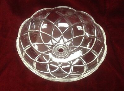 "Vtg Large Crystal Clear Glass Chandelier Bobeche Lamp Part 5.75"" Wide x 1.75"""