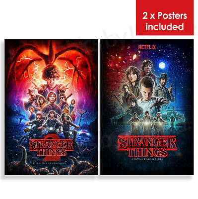 Stranger Things Poster Print 2x (Season 1 and Season 2) LARGE Sizes - A4 A3 A2