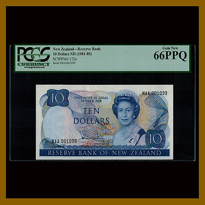 New Zealand 10 Dollars, 1981-85 P-172a PCGS 66 PPQ