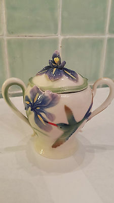 Franz Porcelain Humming Bird & Iris Covered Sugar Bowl Lovely Mint Condition