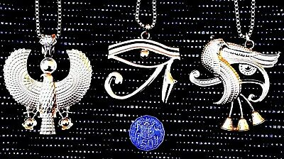 Chunky Extra Large Ancient Egyptian Eye of Ra Horus God Pendant Necklace Jewelry