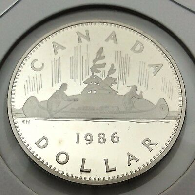 1986 Canada Nickel One Dollar Canadian Proof Uncirculated Coin Not In Case C577