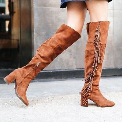 7754913352c FRYE JODI WOMEN S Over the Knee Brown Fringe Suede Boots size 8 ...