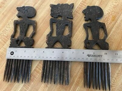 Lots Of Antique Carved Wooden African Comb