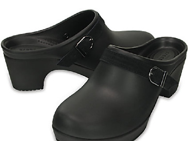 CROC SARAH COBBLER HEEL SLIP ON SHOE~BUSY DAY NERIA~CLOG SANDAL~Black~ W 10~NWT