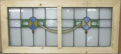"LARGE OLD ENGLISH LEADED STAINED GLASS WINDOW Gorgeous Geometric 42.5"" x 19.25"""