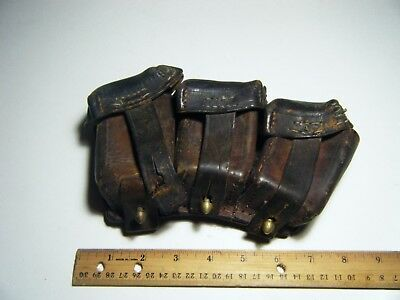Authentic  Antique Vintage Arsenal Leather Cartridge Military Box Brass
