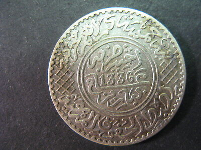 Morocco 1/2 Rial Date Ah1336,(1917) Y#32, Circulated With Dark Stain Obverse,