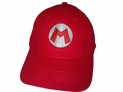 Super Mario Baseball / Outdoor Cap Embroidered Quality Hat - Red