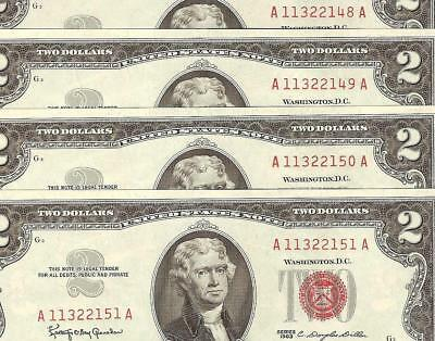 4 Sequential 1963 $2 Two Dollar Bills United States Legal Tender Red Seal Notes