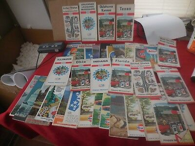 Lot Of 37 Vintage Road Maps Gasoline Advertising 1950's-60's Dot- State