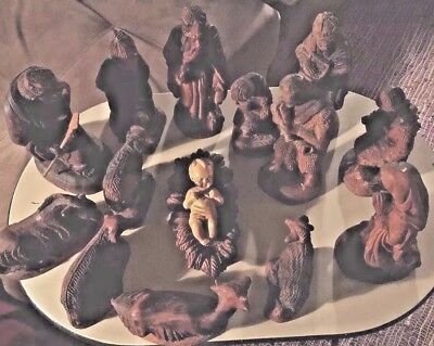 Beautiful 15 pcs  Christian Nativity Set Hand Carved Wood from Indonesia Vintage