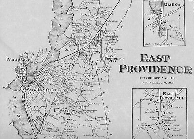 EAST PROVIDENCE RI 1870 Map with Homeowners Names Shown - $11.99 ...