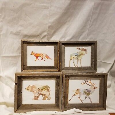 4 RUSTIC 10 x 12  PRINT WOODLAND ANIMALS BARNWOOD FRAMED WITH GLASS