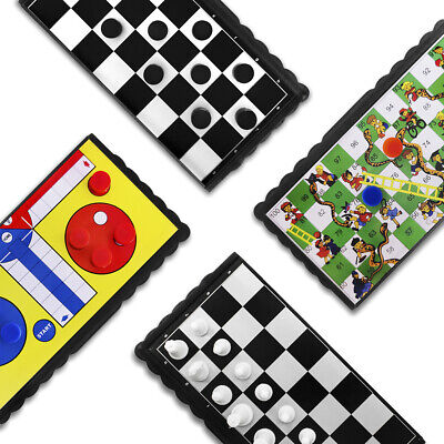 JJPRIME 4 Set Magnetic Travel Board Games Ludo Snake and Ladders Draughts Home