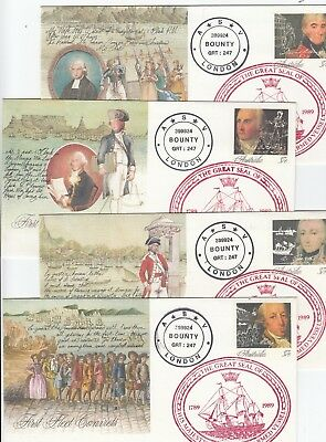 Stamps Australia First fleet ship set of 4 pse with Bounty seal cachet in red