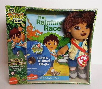 New Sealed Rare Go Diego Go Ty Beanie with Book and Read CD Dora The Explorer