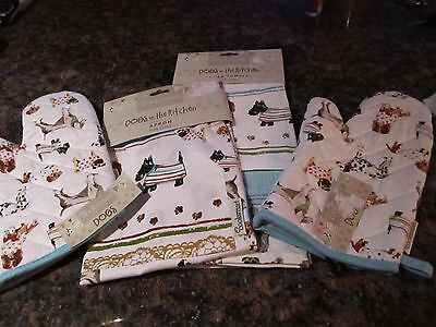 DACHSHUND Scottie 3 Piece Set Towels Apron Oven Mitts Dogs in Kitchen PUG NWT