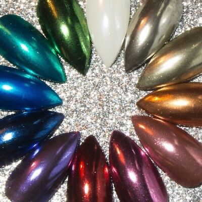 Press On Chrome Stiletto Nails Gel Hand Painted Fake False Acrylic Glue / Tabs