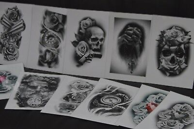 tattoo flash set A4 size black and grey 10 laminated sheets . with linework!