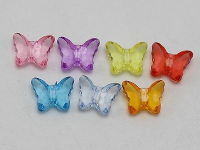 200 Mixed Colour Transparent Acrylic Faceted Butterfly Charm Beads 12X10mm