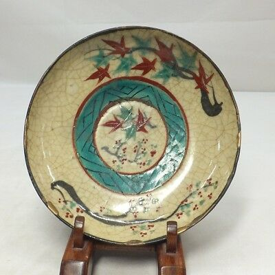 D801: Japanese OLD KIYOMIZU pottery plate with good painting of maple leaf