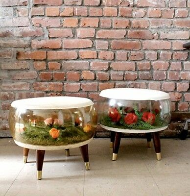 PAIR of vintage inflatable terrarium ottoman stools GREAT CONDITION!