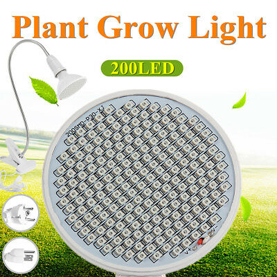 Plant Grow Light Bulb E27 8W 126 /12W 200 LED Flexible Clip-On Lamp Garden