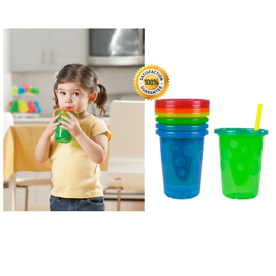 The First Years Take Toss Spill-Proof Straw Cups - 10Oz, 4 Pack, NEW