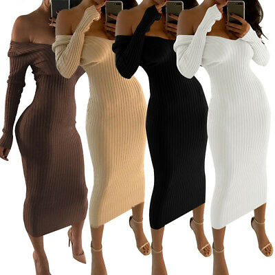 Sexy Off Shoulder Long Sleeve Solid Color Bodycon Dress Clubwear Casual Women's