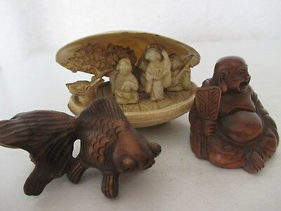 A Novelty Chinese Oriental Shell Figure and 2 Signed Japanese Netsuke - Buddha