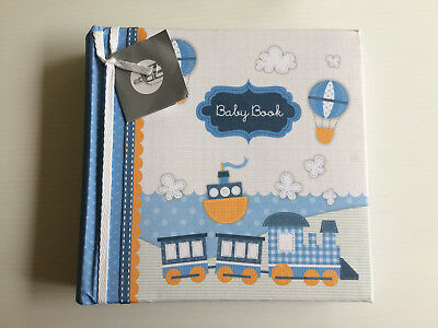 Baby Book Photo Album Boys Holds 200 Photos Acid Free Space for Captions Blue