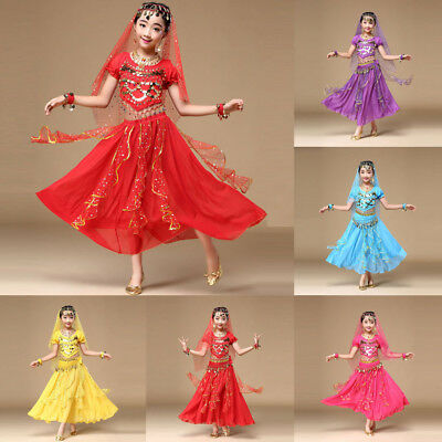 Kids' Girls Belly Dance Outfit Dress Costume India Dance Clothes Top+Skirt Set