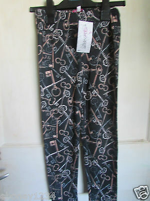 Vintage Girls Key Design Leggings  By Peacocks  Age 7 to 13 Years New with Tags