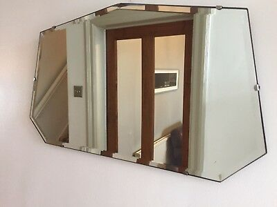 ART DECO VINTAGE Bevelled Edge Frameless FAN MIRROR Chain 1930s 40s Old 60x35cm
