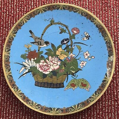 "Large Chinese Antique Cloisonne Plate 12"" (30.5CM)"