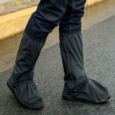 Black Waterproof Motorbike Shoe Boot Cover Motorcycle Rain Protect S/ML/XL New