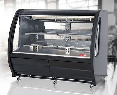 "New Black 56"" Curved Glass Deli Bakery Display Case Refrigerated Casters Tor Rey"
