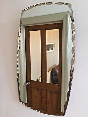 VINTAGE Bevelled Edge Frameless MIRROR Vertical Old 1940s 1950s Chain 60x35cm